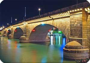 london bridge at lake havasu at night