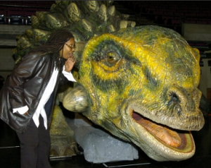 Whoopi Goldberg and a Dinosaur