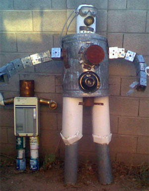 Scrap metal robot art, Bender from Futurama
