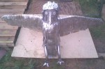 Robot owl or eagle made from scrap metal