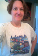 Carma wearing her Worldcon t-shirt