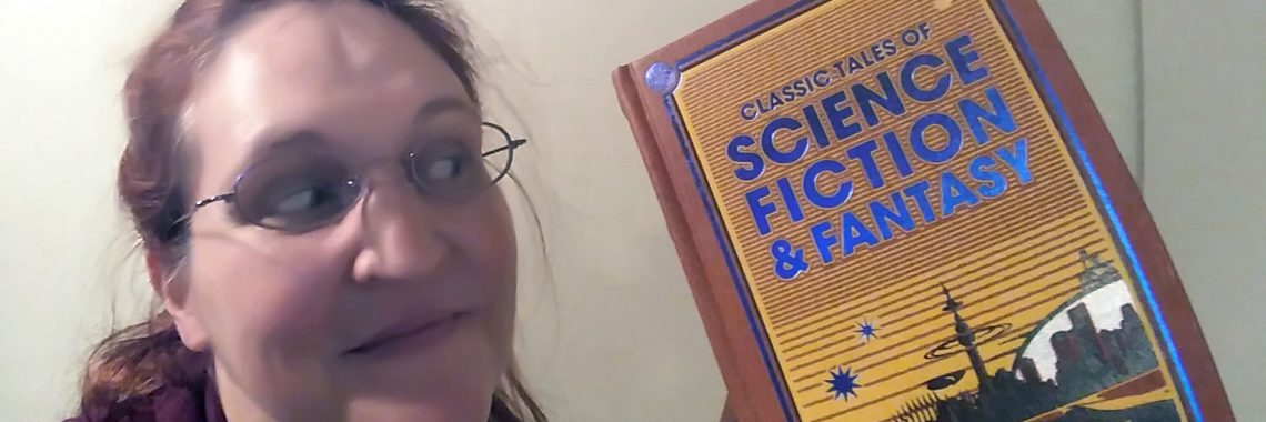 Carma Spence, The Genre Traveler, holding Classic Tales of Science Fiction & Fantasy