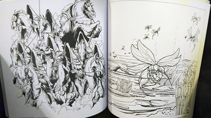 Sample pages from Tolkien's World: A Fantasy Coloring Book