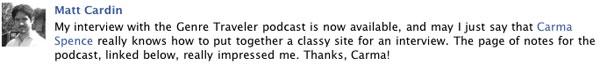 Matt Cardin's comment on Facebook