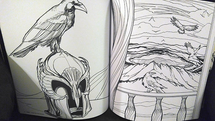 """Sample pages from """"A Bestiary of Tolkien: Coloring Book"""""""